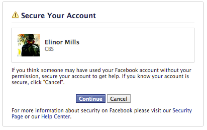 Here is a screenshot of the prompt Facebook users will get when they indicate that their computer may have an infection.