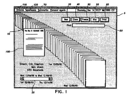 """Part of the Mirror Worlds patent for """"streaming"""" files."""
