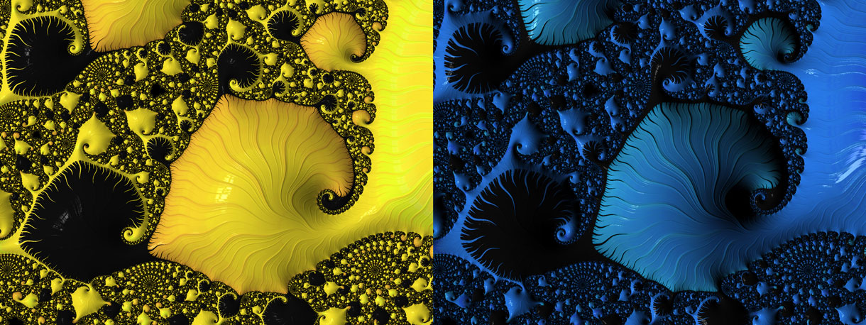 Changing the lighting and color can quickly give a different feel to the same view of a fractal.