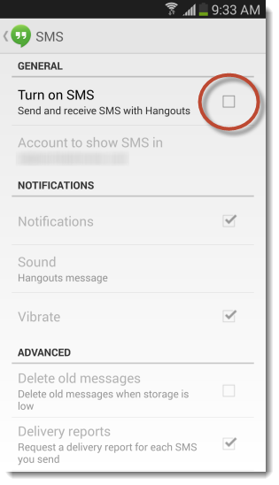Disable Hangouts SMS