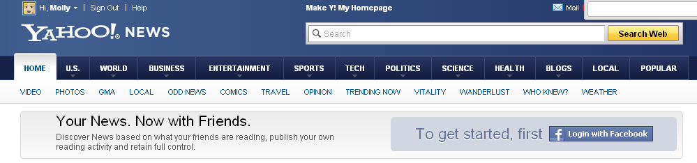 Log in to Yahoo News with Facebook ... and start auto-sharing everything you read.