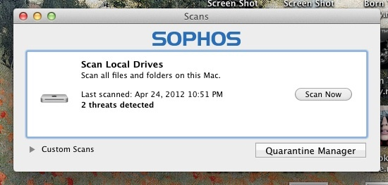 Sophos Anti-Virus for the Mac scan-results window
