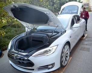 The Tesla S on display at GigaOM's RoadMap conference.