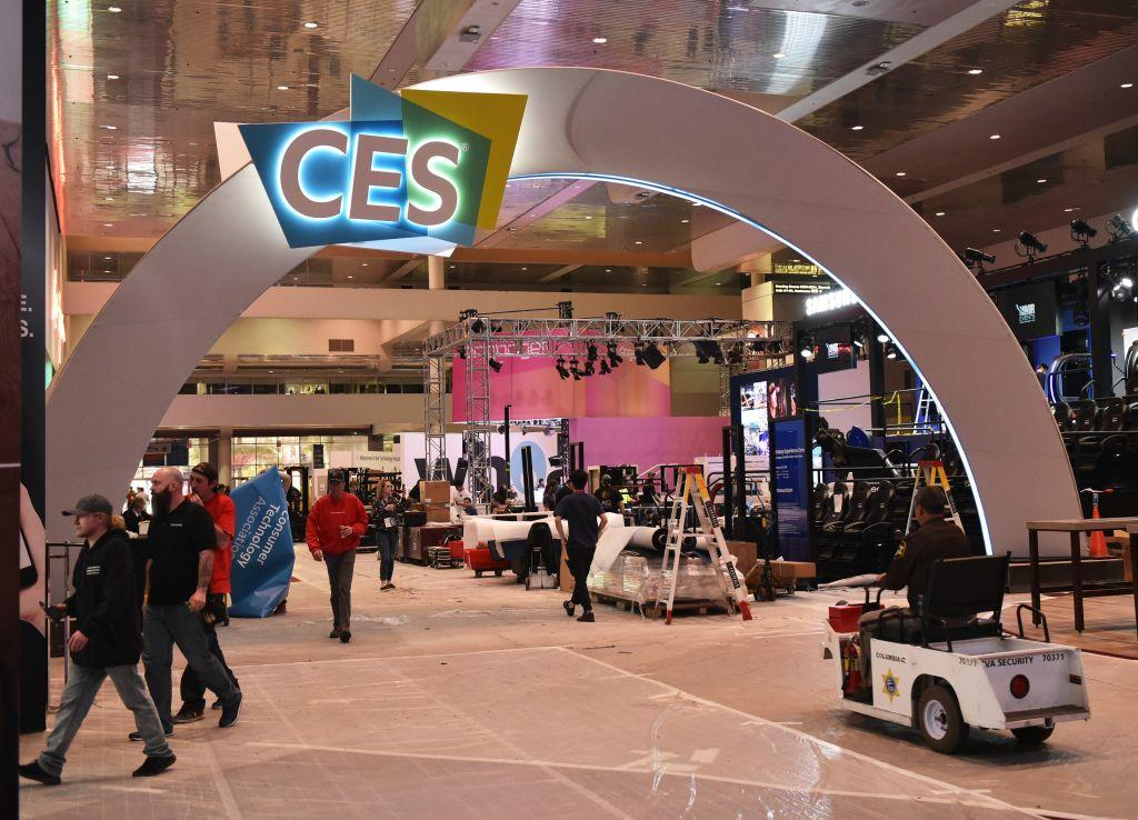 Workers inside the Las Vegas Convention Center get set for CES 2018.
