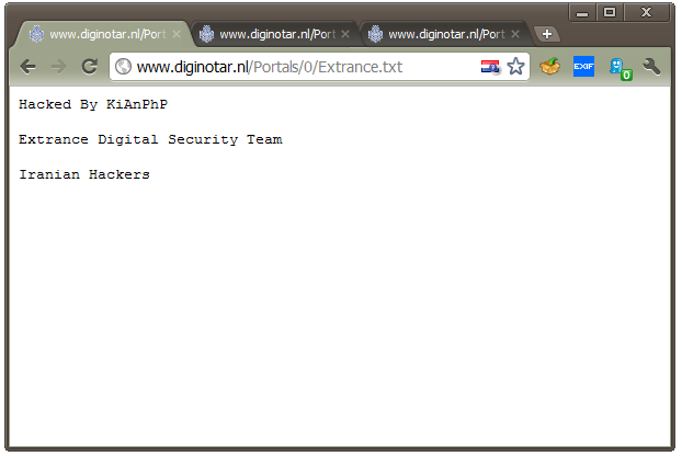 F-Secure found several defaced Web pages on DigiNotar's site, including several with references to Iranian hackers.