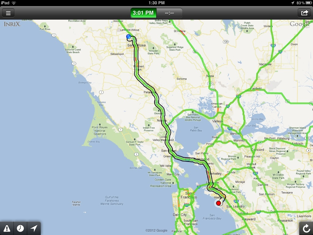 Inrix real-time traffic map