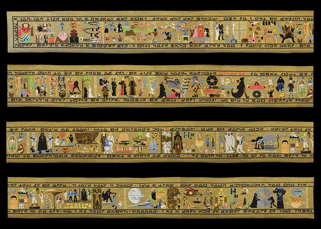 """The beloved space tale of Jedi masters battling the Empire is retold through cross-stitch in this epic """"Star Wars"""" tapestry by artist Aled Lewis."""