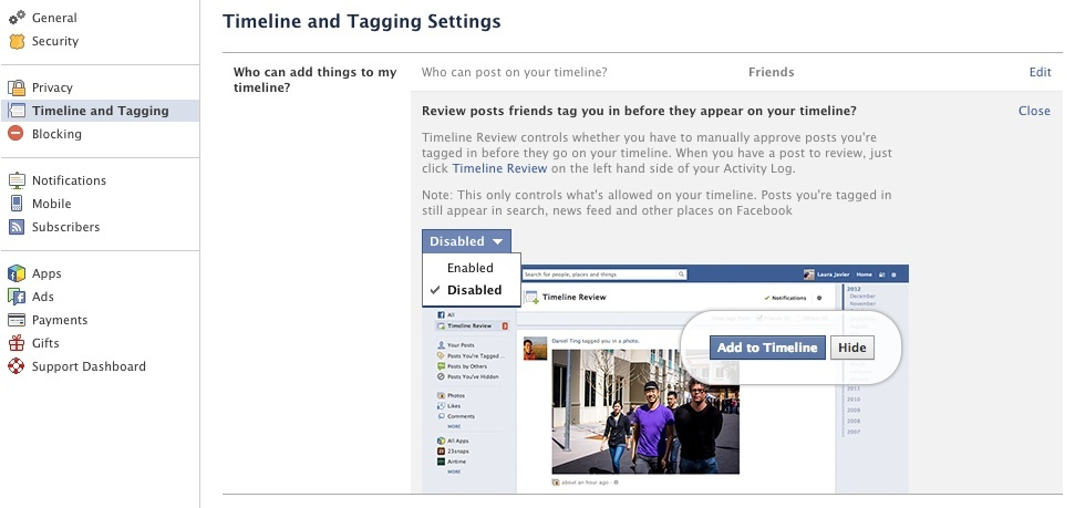 Facebook Timeline and Tagging options
