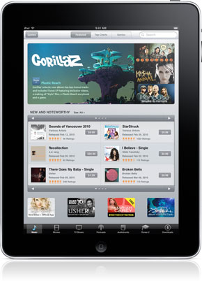 Picture of the  iTunes music store on the iPad.