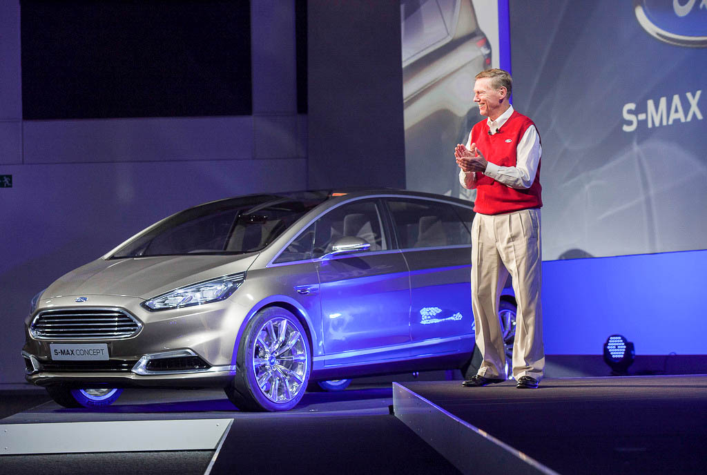 Ford CEO Alan Mulally next to an electronically augmented S-Max concept car at the IFA show in Berlin