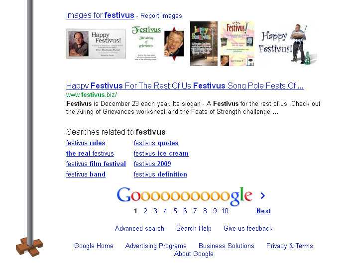 Festivus pole at bottom of results