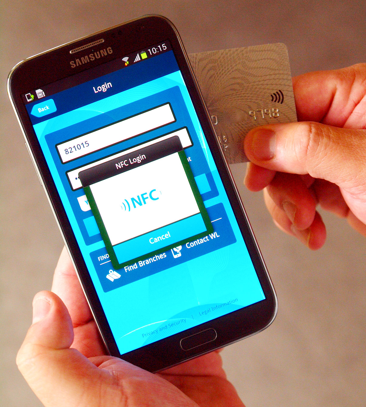 IBM's dual-factor authentication for mobile devices combines a user password with an NFC-linked card to improve login security.