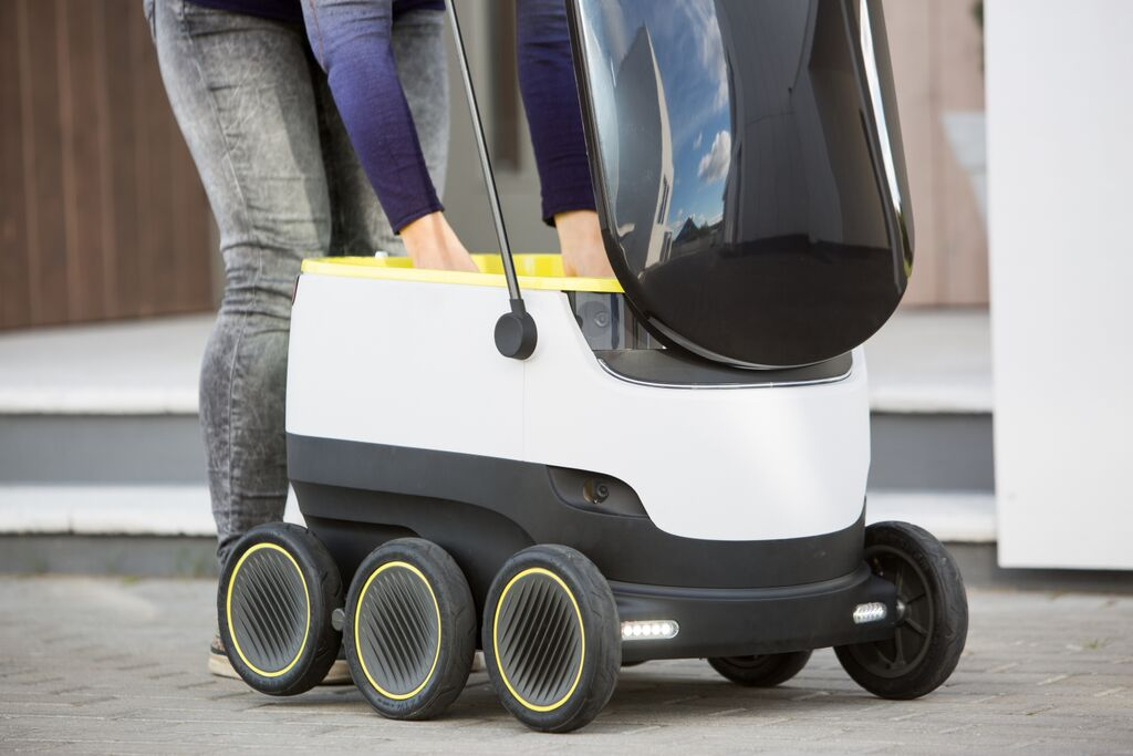 Starship Technologies' delivery robot can carry about 20 pounds worth of cargo and only opens when authorized by the recipient.