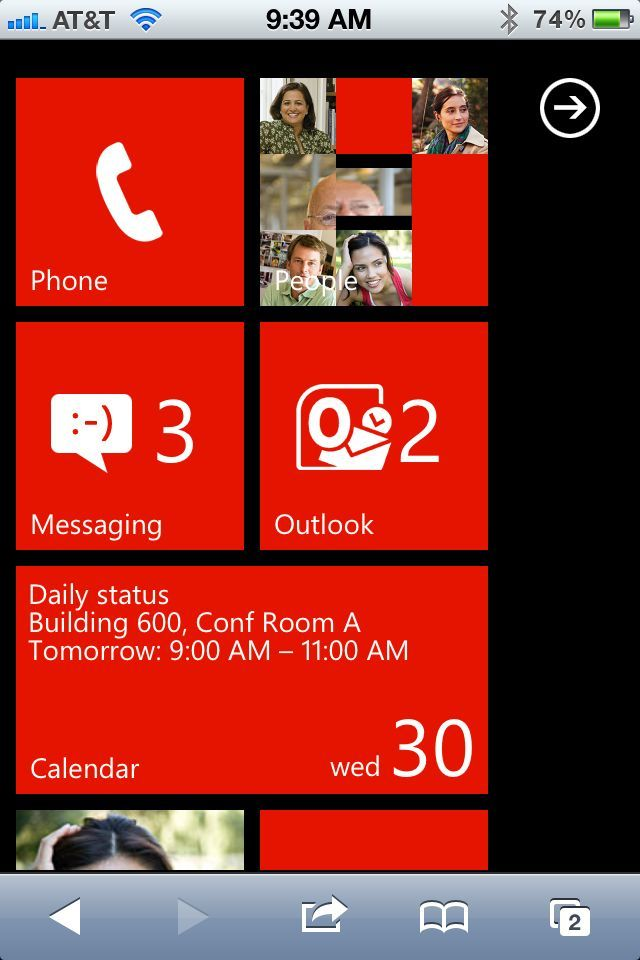 Hey, what's Windows Phone 7 doing on my iPhone? Giving me a taste of its sexy interface, that's what.