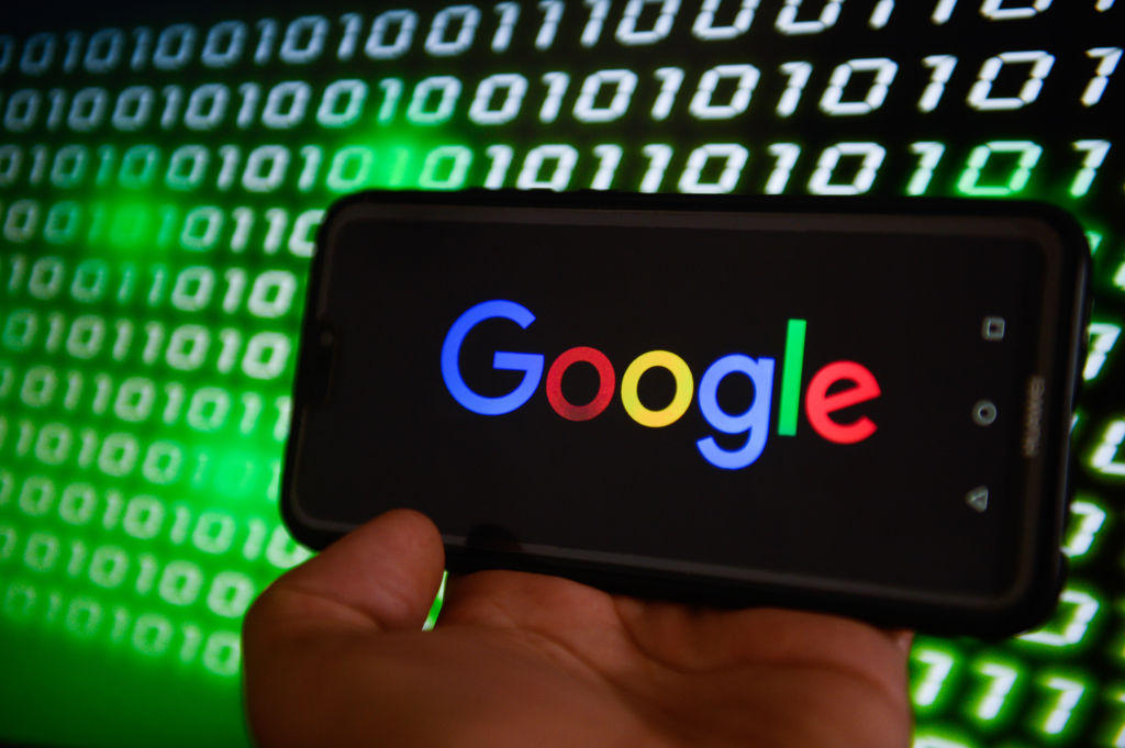 Google logo is seen on a mobile phone