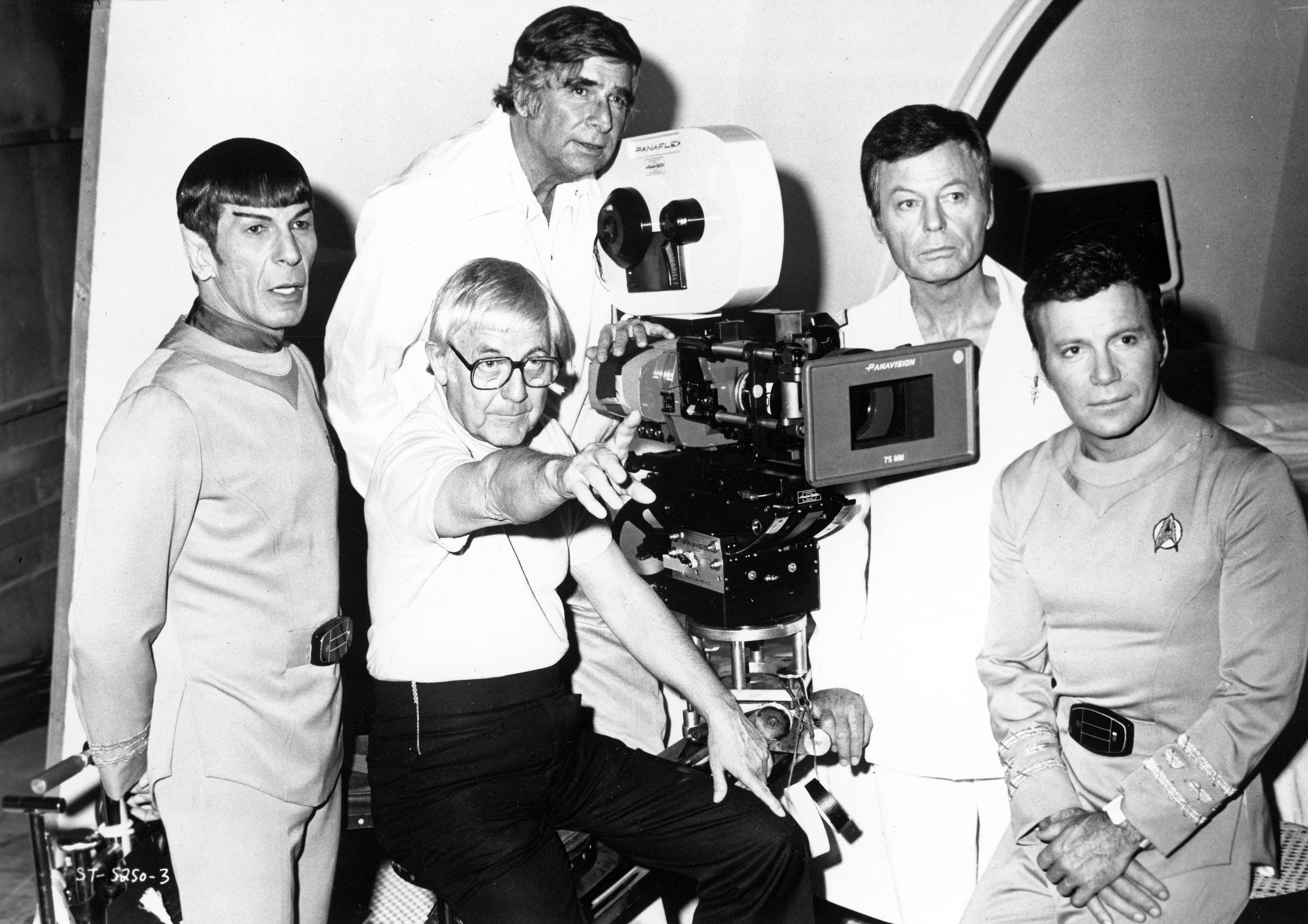 "Leonard Nimoy, DeForest Kelley and William Shatner pose for a portrait with Star Trek creator Gene Roddenberry and director Robert Wise ahead of the 1979 release of ""Star Trek: The Motion Picture."""