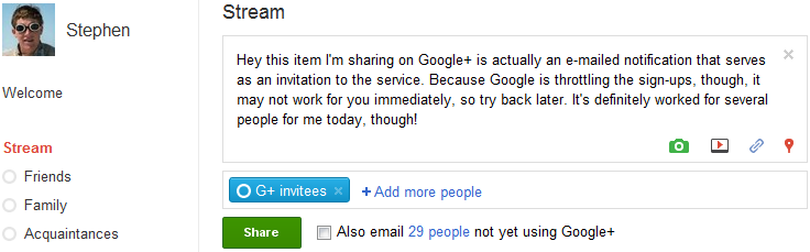 A look at the way to invite people to Google+ without a direct invitation option.