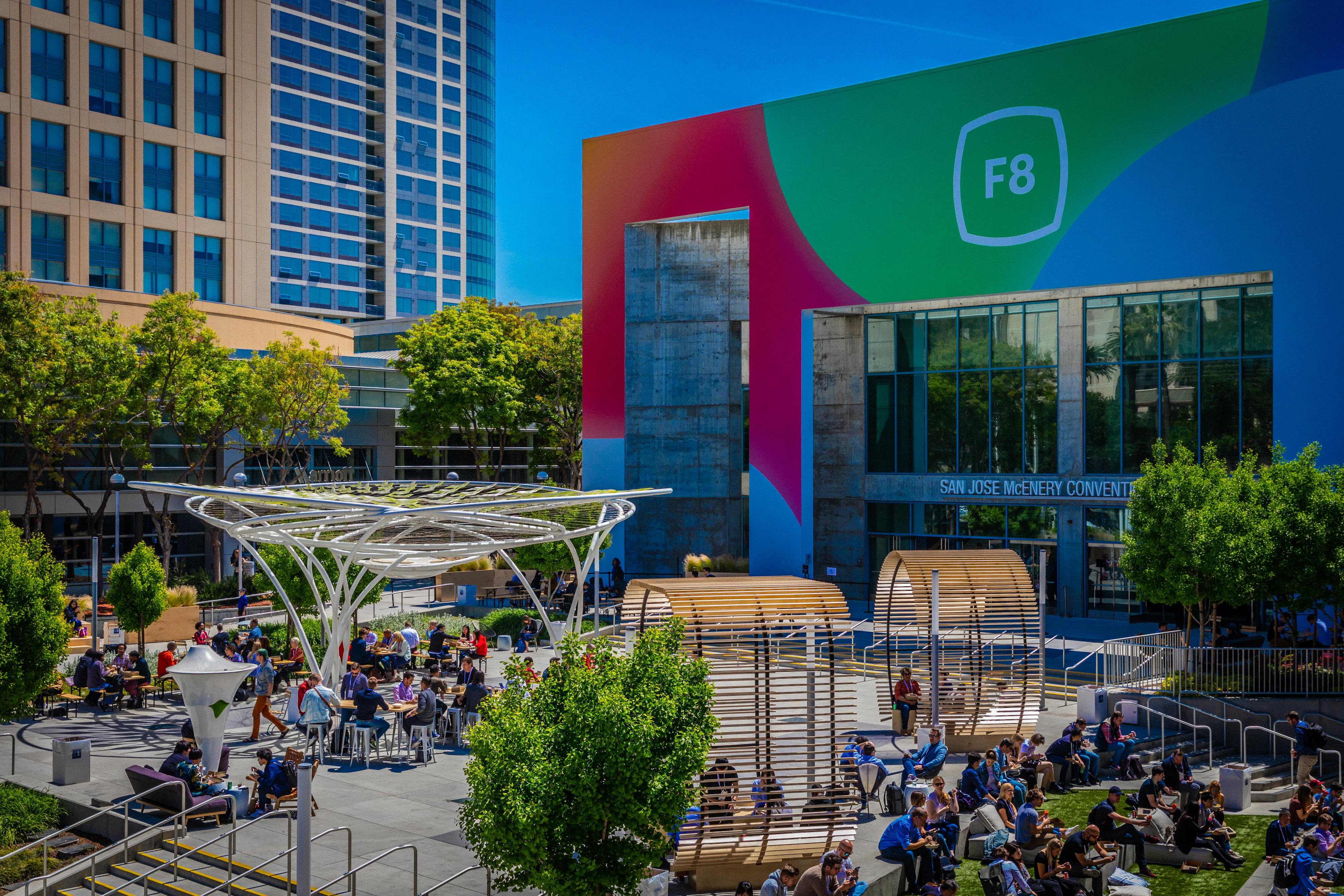 The scene outside Facebook's F8 conference