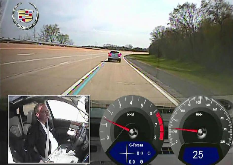 Cadillac is testing its Super Cruise technology which uses sensors and cameras to automatically steer and brake the car on highways.