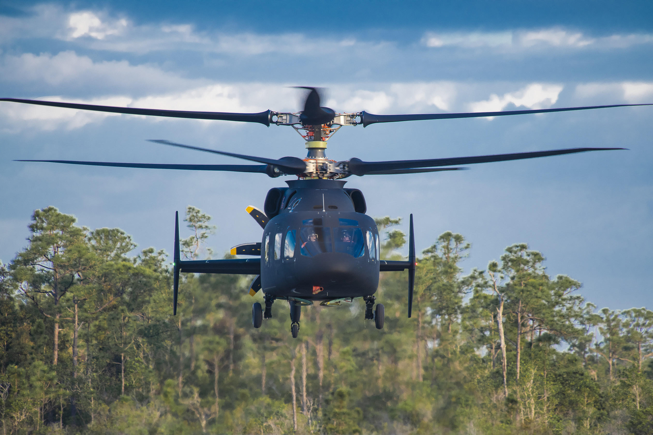 Front view of the Sikorsky-Boeing Defiant helicopter.