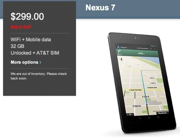 As of this morning, the AT&T HSPA+ version of the Nexus 7 is sold out.