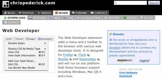 Chris Pederick's Web Developer browser extension.