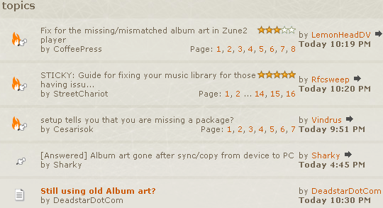 Screen shot of Zune support messageboard.