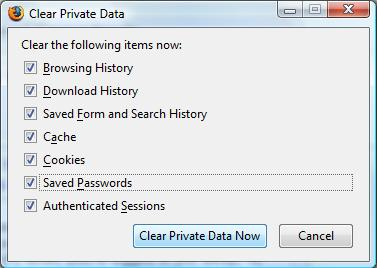 Mozilla Firefox's Clear Private Data dialog box
