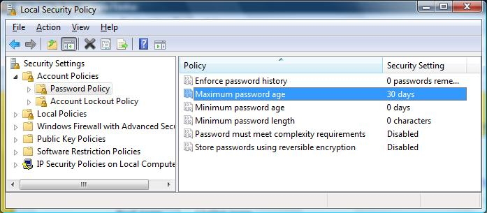 Windows Vista's Local Security Policy dialog box
