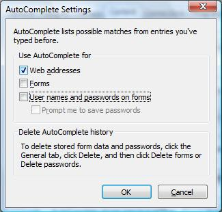 Internet Explorer 7's AutoComplete Settings dialog box