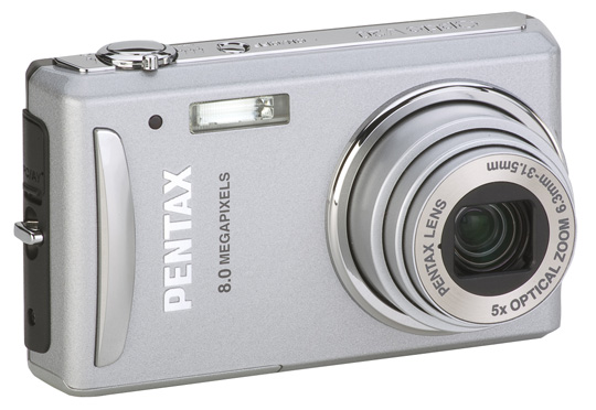 Pentax's new 8MP V20 includes a 5X optical zoom lens.