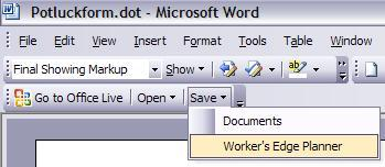 Office Live Add-in toolbar in Word 2003
