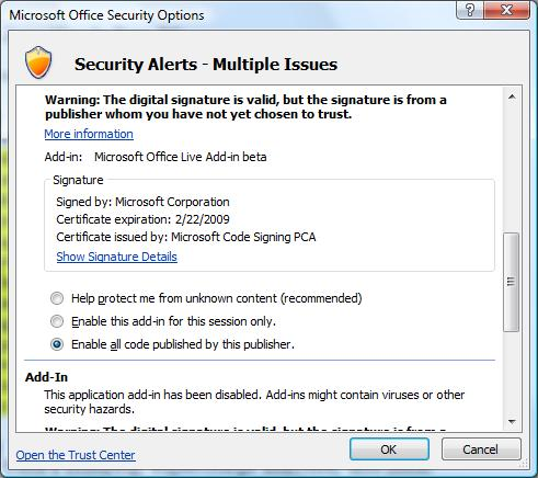 Microsoft Office 2007 Security Alerts dialog box