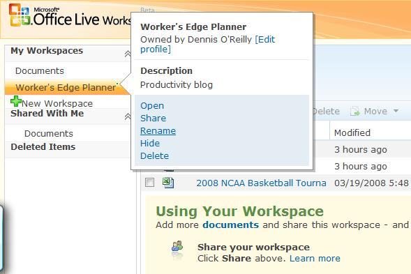Microsoft Office Live Workspace options