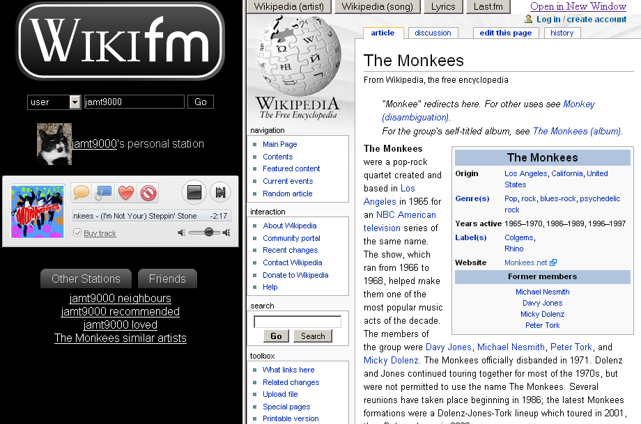 Photo of WikiFM browser window.