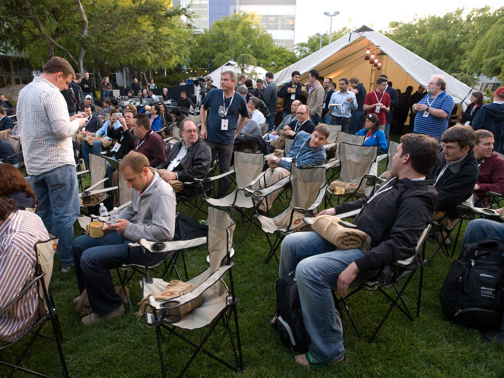 The crowd settles in at Google's third Campfire One event in the Googleplex courtyard.