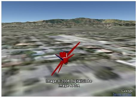 This basic flight simulator works with the Google Earth browser plug-in.
