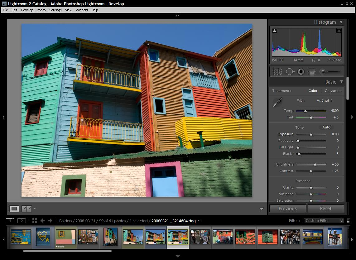 Lightroom 2.0 is geared for editing flexible but complicated 'raw' images taken directly from higher-end cameras' image sensors. (Click image to enlarge.)