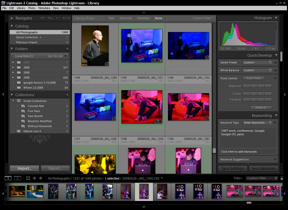 Adobe Photoshop Lightroom features a task-oriented interface. Shown here is the 'Library' view for sorting, tagging, and organizing photos.