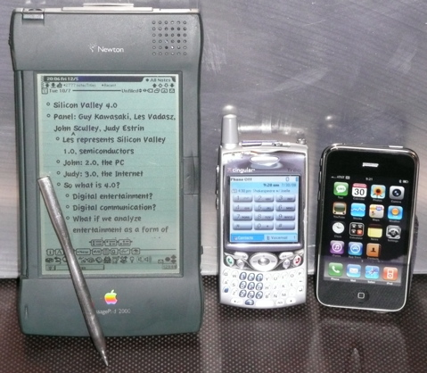 Apple Newton, Palm Treo, and Apple iPhone 3G