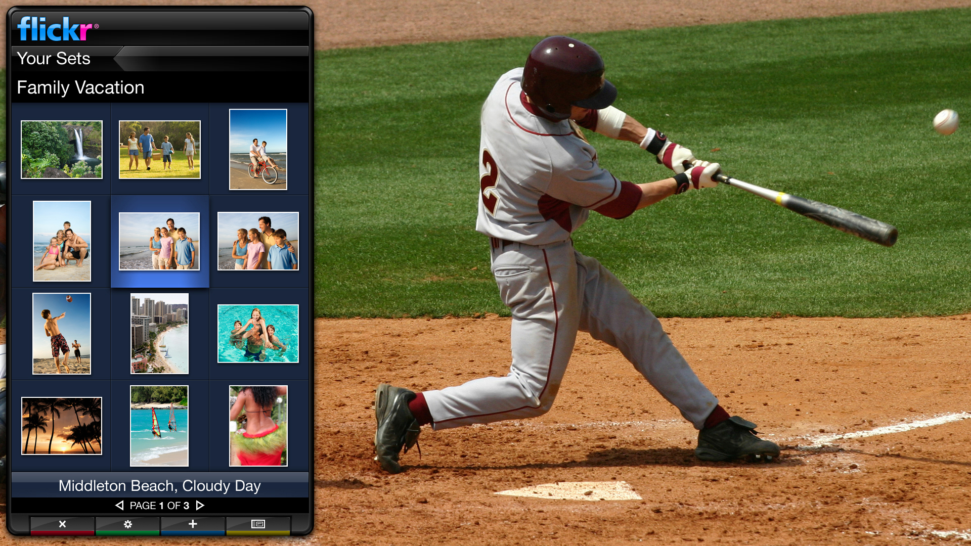 Yahoo's Widget Channel software lets TVs run network-enabled applications such as this one for Yahoo's Flickr photo-sharing service.