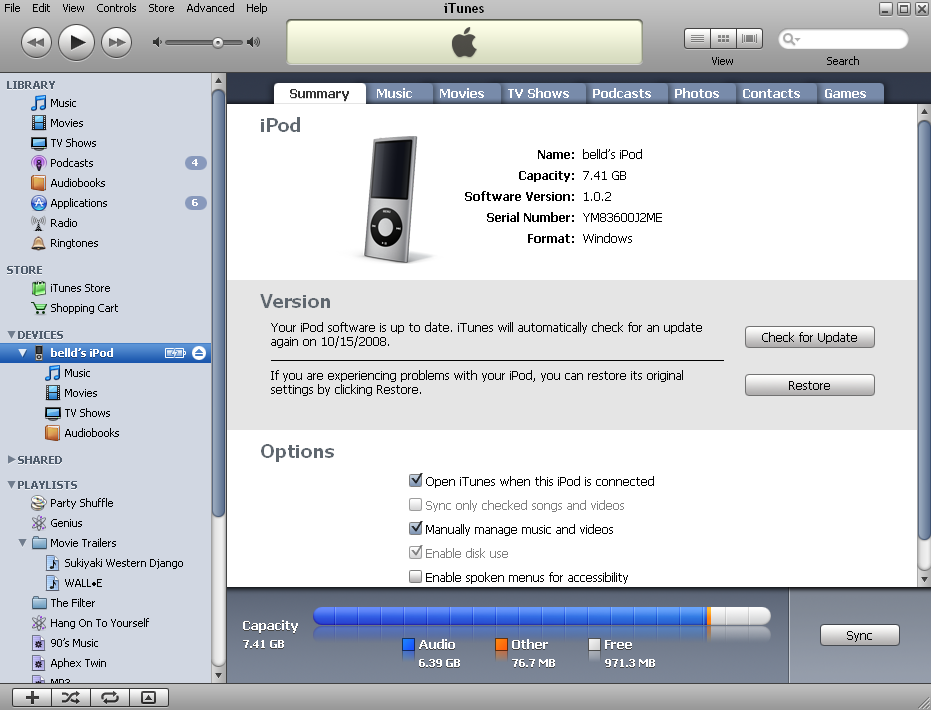 Image of iTunes 8 iPod summary window.