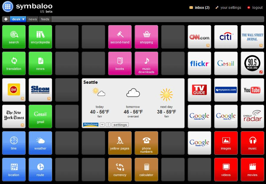 Symbaloo beta home page service