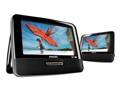 Philips PET7402 - DVD player / two LCD monitors - display 7 in