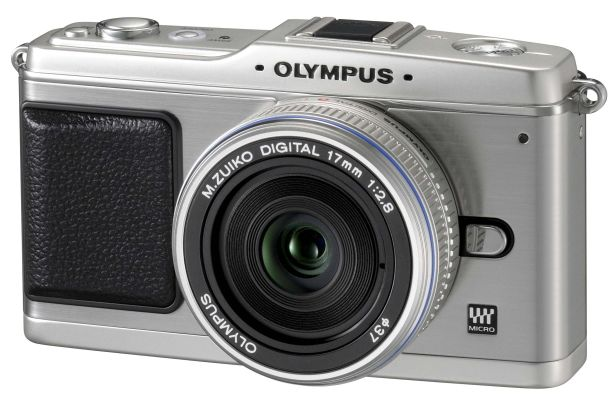 The Olympus E-P1 with its small 17mm lens attached.