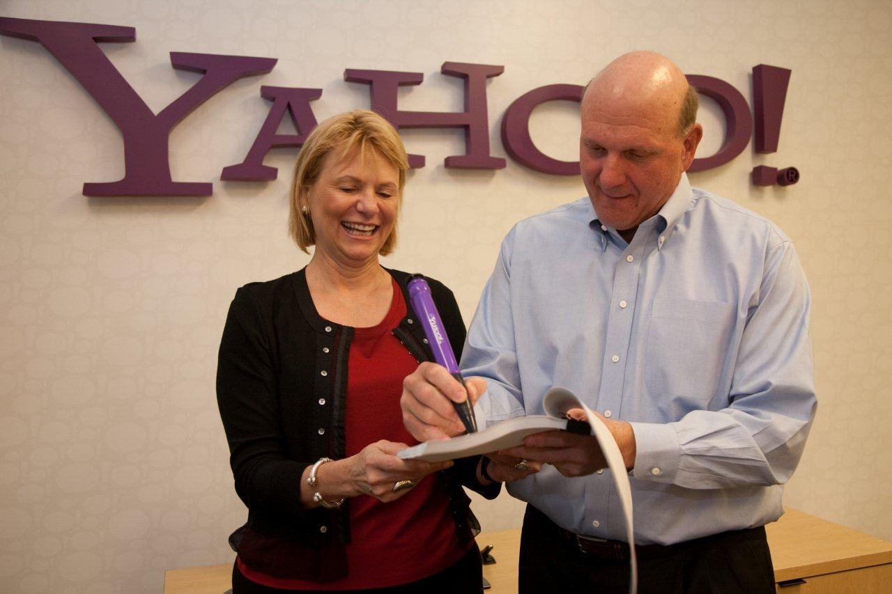 Yahoo CEO Carol Bartz and Microsoft CEO Steve Ballmer tout the deal.