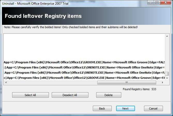 Revo Uninstaller Registry scan results