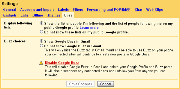 Disable Google Buzz--updated