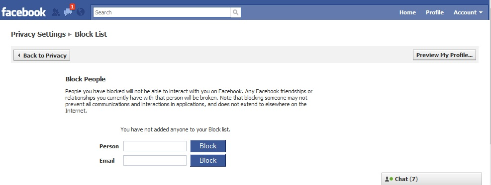 Facebook Block List person and e-mail text boxes