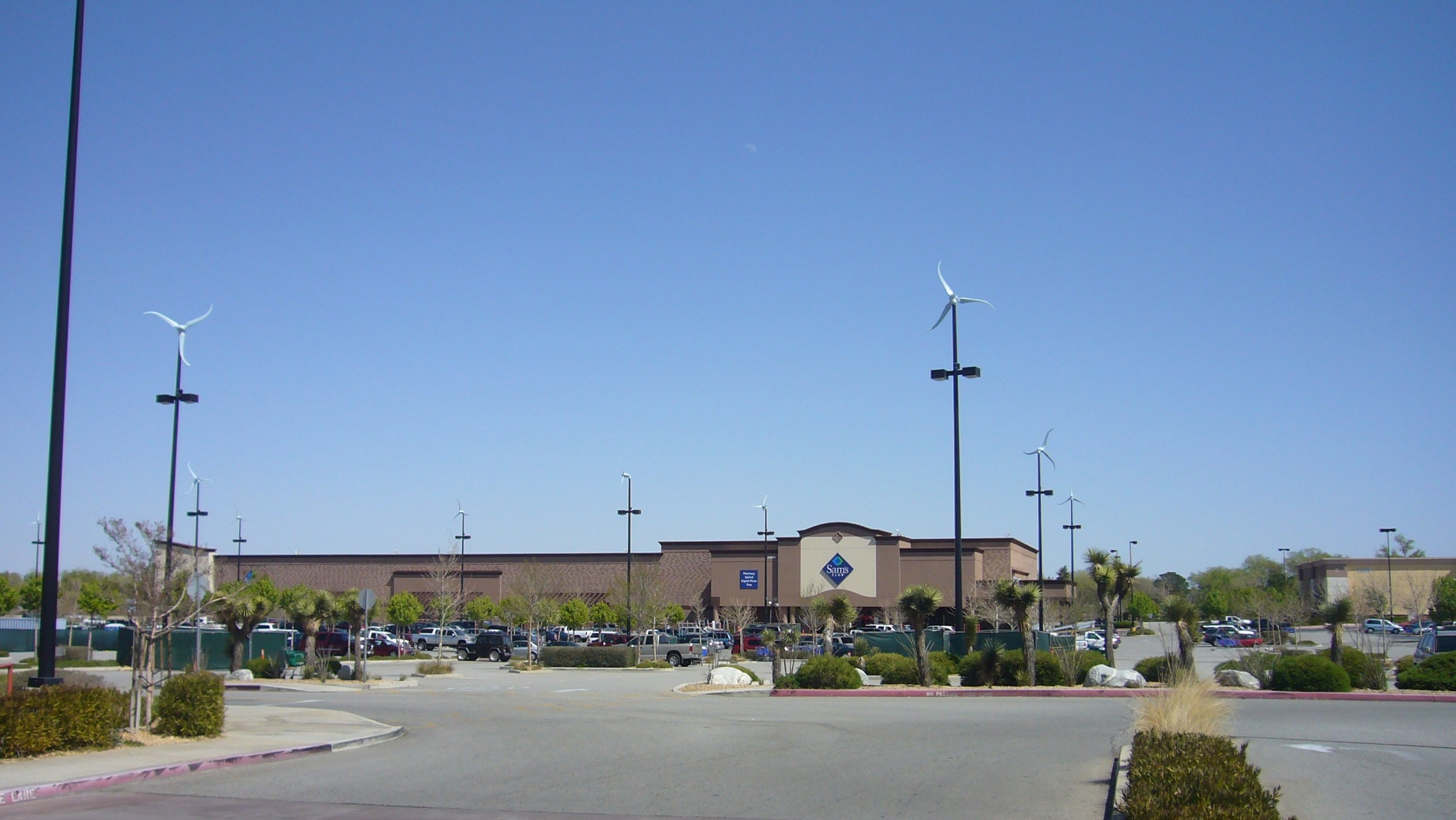 Seventeen microwind turbines from Southwest Windpower were installed at this Sam's Club store this spring by project developer Deerpath Energy.